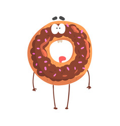 Cute donut character with chocolate glazing vector