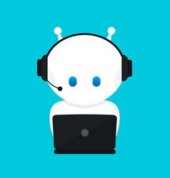 Cute funny white robotchat bot vector