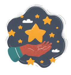 cute star in human hand on vector image