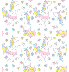 Cute unicorn seamless pattern with flowers vector