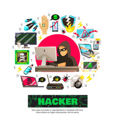 Cyber terrorist circle composition vector