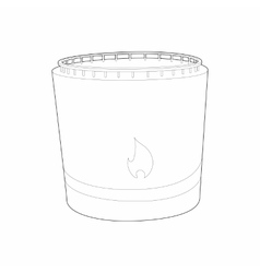 Cylindrical tank flammable icon outline style vector