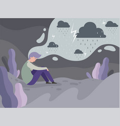 Depressed people loneliness alone in city vector
