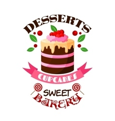 Dessert cake or tart icon or emblem vector