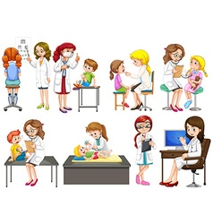 Doctors and patient at clinic vector image vector image