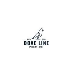 Dove bird minimalist line stand logo design vector