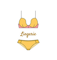 Elegant yellow lingerie icon in flat style vector