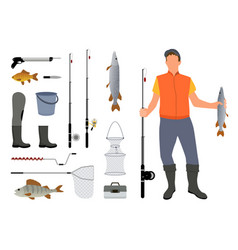 Fishing equipment and fisher with catch color card vector