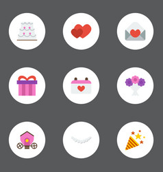 Flat icons love present chariot and other vector