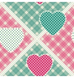 Floral background with decorative patchwork hearts vector image
