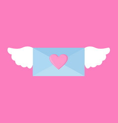 flying love letter wings graphic vector image