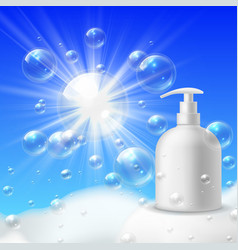 foaming wash brand clean bubble foam for bathroom vector image