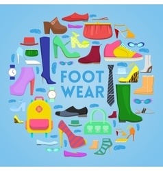 Footwear and Accessories Icons Set with Shoes vector