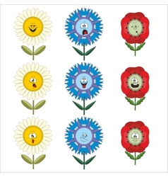 Funny flowers with different emotions 018 vector