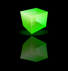 Green glass cube on a smooth surface vector image