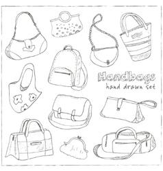 hand drawn doodle sketch set bags vector image
