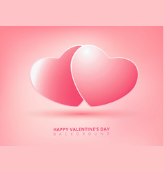 happy valentines day on pink background with twin vector image