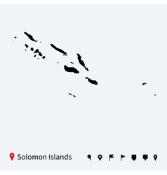 High detailed map of Solomon Islands with pins vector image