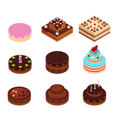 Holiday isometric cakes with decorations vector