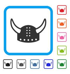 horned helmet framed icon vector image