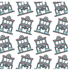 Hospital clinic building care seamless pattern vector