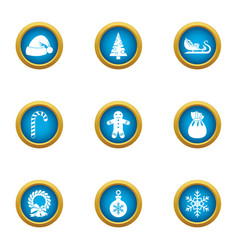 incoming year icons set flat style vector image