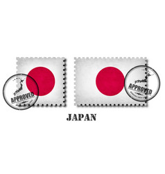 japan or japanese flag pattern postage stamp with vector image