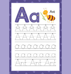 Letter a handwriting practice worksheet learning vector