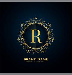 Letter r logo concept with golden florals vector