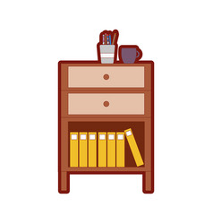 Line color cabinet file archive with coffee cup vector