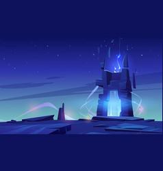 Magic portal on mountain top or alien planet vector