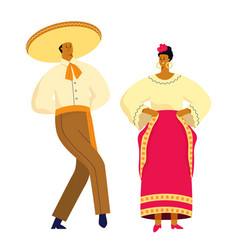 mexican dancing couple in traditional costumes vector image