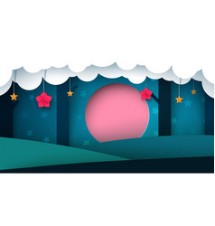 night paper forest - paper vector image