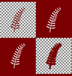Olive twig sign bordo and white icons and vector