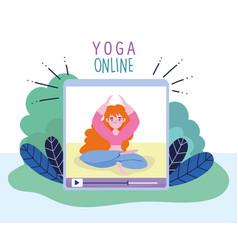Online yoga video training yoga exercise digital vector
