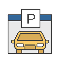 parking place carpark auto shed color icon car vector image
