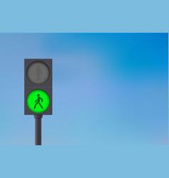 Pedestrian traffic light green light on sky vector