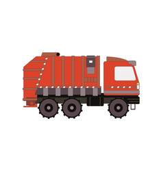 Red garbage truck isolated on white background vector
