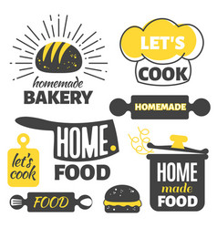retro cooking badges - homemade food emblems set vector image