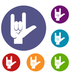 rock gesture icons set vector image