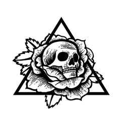 rose and skull tattoo with sacred geometry frame vector image