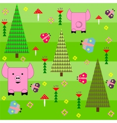 Seamless green background with a pattern of funny vector image