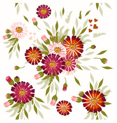seamless pattern with hand drawn cosmos flowers vector image
