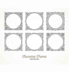 set flourishes calligraphic elegant frames vector image
