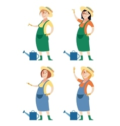 Set of gardener women vector image