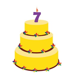 Seventh birthday cake vector