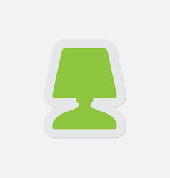 Simple green icon - bedside table lamp vector