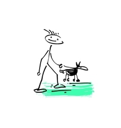 sketch doodle human stick figure man walking vector image