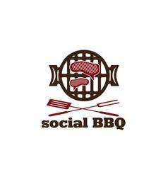 Social bbq concept design template vector