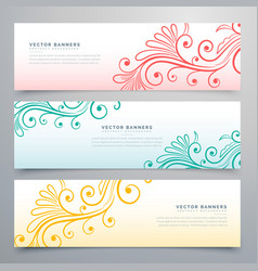 Stylish floral banners set of three vector
